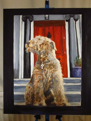 Final finished painting of Bonnie outside her house proud